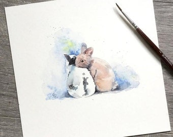 Bunny love original watercolour painting