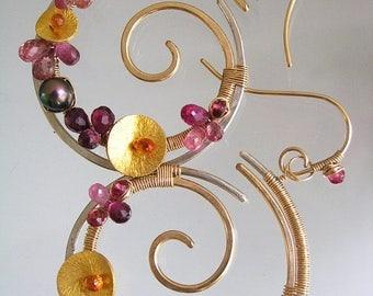 Mixed Metal Pink Tourmaline Hoops, Gemstone Nautilus Earrings, Spirals, Sapphire, Pearl, Wave Scrolls, Artisan, Signature Original