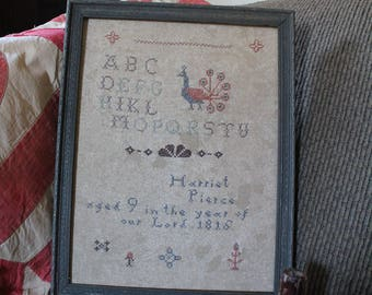 Early Style Antique Reproduction Primitive Sampler*Schoolgirl Alphabet Style*Harriet Pierce*1816*Peacock*Fitch Hill Prims*