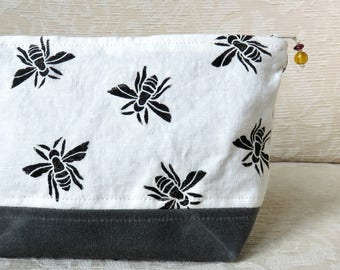 Honeybee Zip Pouch, Hand Printed Fabric and Waxed Canvas Clutch