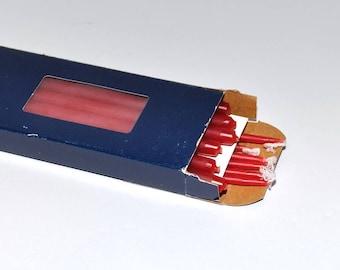 """Vintage Dansk Designs Tiny Taper 15"""" Candles Red Unused, Set of 12"""