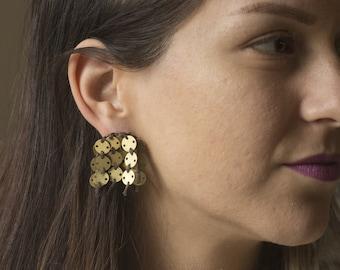 Metal Tassel Earrings, Dangle Earrings, Brass Jewelry, Stitched Earrings, Brass Earrings, Contemporary Jewelry, Unique Jewelry