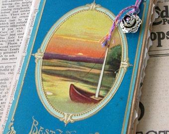 Hand Bound Junque Journal-Antique Ephemera-Best Wishes Sweet and True