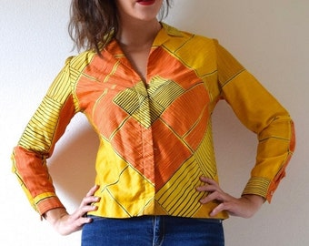 FLASH SALE / 20% off Vintage 60s 70s Vera Neumann Graphic Yellow and Orange MOD Long Sleeved Collared Polished Cotton Blouse (size small, me