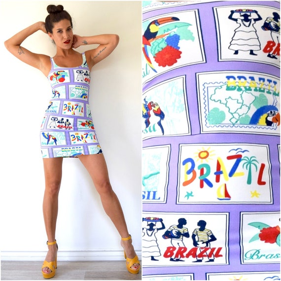 SPRING SALE / 30% off Vintage 80s Welcome to Brazil Graphic Bodycon Low Back Mini Dress (size small, medium)