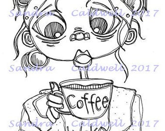 1576 Give Me Coffee Now Digi Stamp