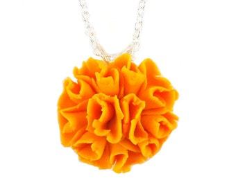 Orange Marigold Necklace - Marigold Jewelry, October Birthday Birth Flower