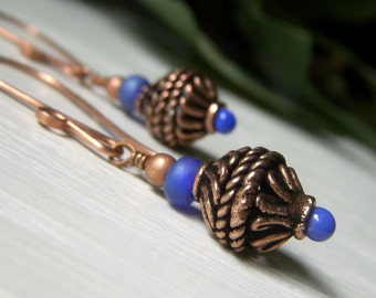Bali Copper Earrings, Casual Copper Earrings, Hand Forged Earrings, Copper and Cobalt Royal Blue Earrings, Rustic Tribal Earrings