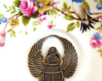 CLOSEOUT SALE * Antique Brass Large Round Winged Scarab Beetle Stamping ~ Jewelry Findings ~ Brass Stamping (C-401)