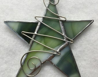 Stained Glass Ornament - Star with Wire