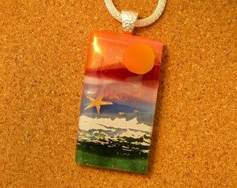 Dichroic Scenic Pendant - Dichroic Landscape Pendant - Dichroic Jewelry - Beach Scene Pendant - Fused Glass Pendant - Dichroic Beach Scene