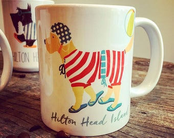 Hilton Head beach doodle goldendoodle retriever beach ball graphic art MUG 11 oz ceramic coffee mug