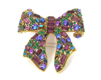 Blythe & Blythe Rhinestone Brooch, Bow Shape, Vintage 1970 Jewelry, Purple Blue Green Stones, Chunky 3-Dimensional, Statement Piece