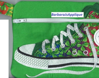 High Top Shoe Zippered Bag 6x8 inches embroidered ready to go now