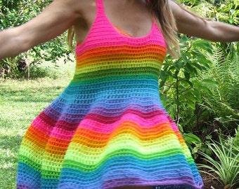 Crocheted rainbow dress made to order