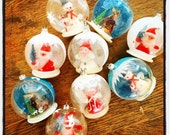 Old Time Christmas... Vintage Glass Diorama Christmas Tree Snow Globe Ball Ornaments Western Germany Mica Santa Angel Snowman Nativity