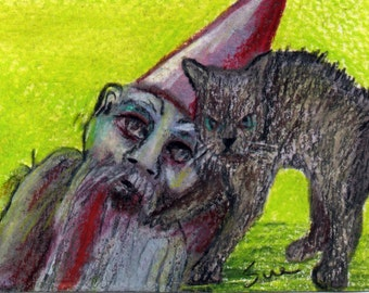 original art  aceo drawing walking dead zombie gnome and scaredy cat
