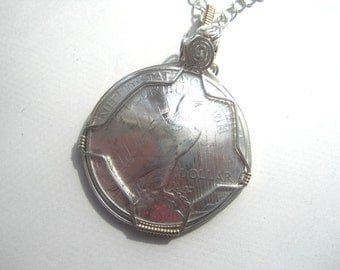 Coin necklace- Peace Dollar necklace with sterling silver wrap