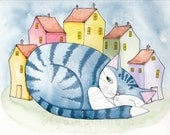 The House Cat 3 Original Blue Tabby Cat Folk Art Watercolor Painting