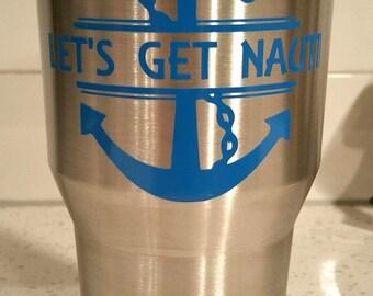 Let's Get Nauti Stainless Steel Tumbler - Ozark Trail - 30 oz - Nautical Cruise Theme