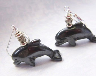 dolphin earrings - dolphin jewelry - hematite dolphins - I made them on porpoise - gwynstone handmade