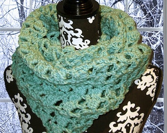 Crochet Neck Warmer, Gaiter/Buff, Cowl, Seafoam Green