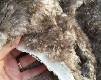 Tan Swirl - Dense mohair/Viscose blend bear making fur fabric - Fat 1/8m