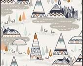 Teepee fabric, Adventure fabric, Spirit Lake fabric by Art Gallery Fabrics- Woodland Oak, Grey fabric, Fat Quarter, Half Yards, Yardage