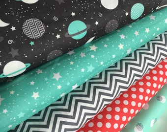 Space Adventure fabric, Planet, Astonomy fabric, Stars, Constellations, Space fabric, Kids fabric, Mint Coral Bundle of 5- Choose the Cuts