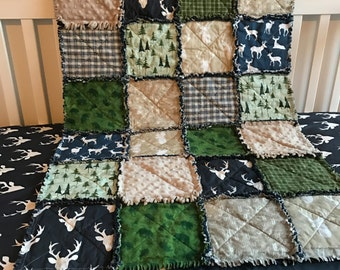 Custom Rustic Deer Arrows Woodland Plaid Navy Green & Tan Boutique Designer 2 Piece Crib Bedding Set MADE TO ORDER
