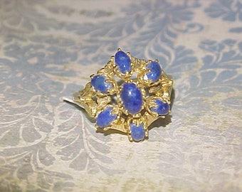 14k Gold Blue Sapphire Cabochon