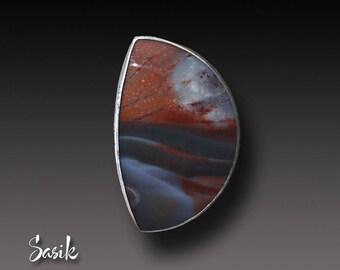 Serape Jasper Ring Sterling Silver handmadet Ring