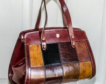 Vintage 1970's Patent Leather Patchwork Handbag by Jole