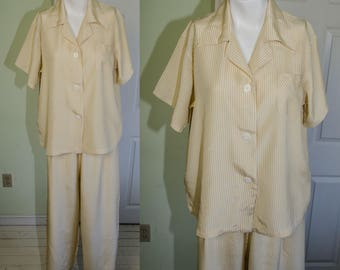 Vintage 1940's Yellow Striped Wide Legged Woman's  Pajama Set