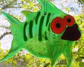 Fused glass fish and sun sunburst decorative suncatchers