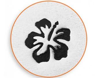 ImpressArt Metal Design Stamp, 6mm Hibiscus Flower Testure Design Jewelry Leather Wood PMC Metal