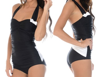 Rita Ruched Front Bow Back Onepiece Halter Swimsuit in Black and White