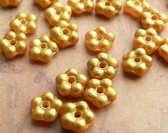 Satin Gold Czech Glass Bead Flower Spacer Metallic Opaque 5mm (50)
