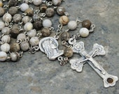 Gemstone Rosary of Silver Leaf Jasper; 5 Decade Rosary; Our Lady of Fatima; Catholic Rosary; Relic Crucifix