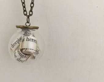 Pride and Prejudice Jane Austen Mr. Darcy inspired book literary bauble style necklace