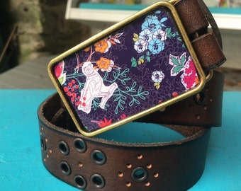 The Teagan Belt - Rich Flower and Bird Print Buckle with Brown Leather Belt