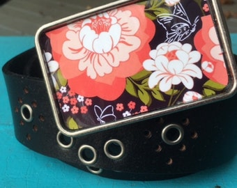 The Kinsley Belt - Bold Flower Pattern with Coral Flower and Black Leather Grommet Belt