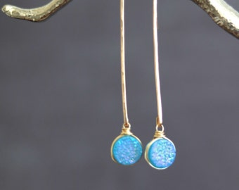 Turquoise Druzy Earrings Pendulum Stick earrings Gift for her Under 70 VitrineDesigns