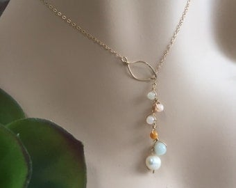 14K Gold-Filled Pearl and Moonstone Necklace