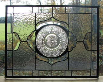 stained glass panel Crystal Heritage antique vintage plate