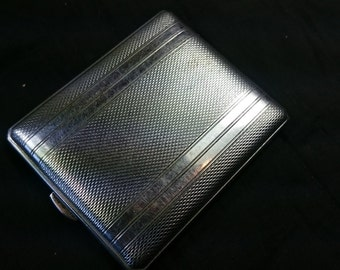 Vintage Art Deco Silver Chrome Metal Powder Compact 1920's - 1930's