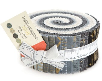 "Moda Modern Background Luster Metallic Jelly Roll 2.5"" Precut Fabric Quilting Cotton Strips Zen Chic 1610JRM"
