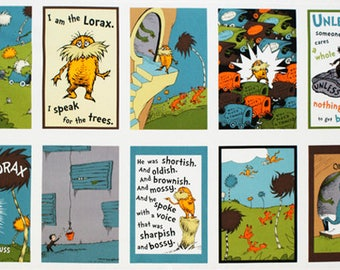Robert Kaufman Dr. Seuss THE LORAX Earth ADE-11835-169 Quilt Panel Fabric