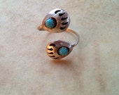 Vintage Sterling Silver Turquoise Bear Claw Navajo Adjustable Ring