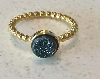 Dara Ettinger VICTORIA Druzy Ring in 14kt Gold/Black sz 8